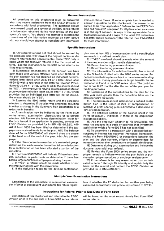 Form 4632-a - Instruction To Chechsheet - 1994