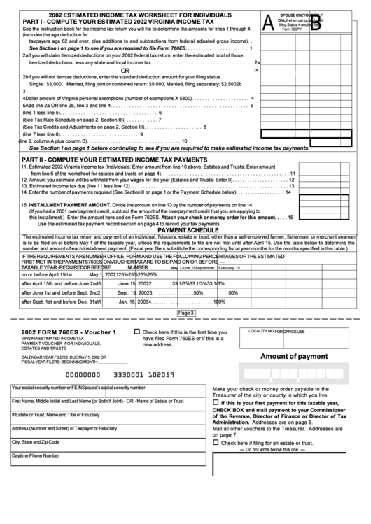 Form 760es Estimated Income Tax Worksheet For