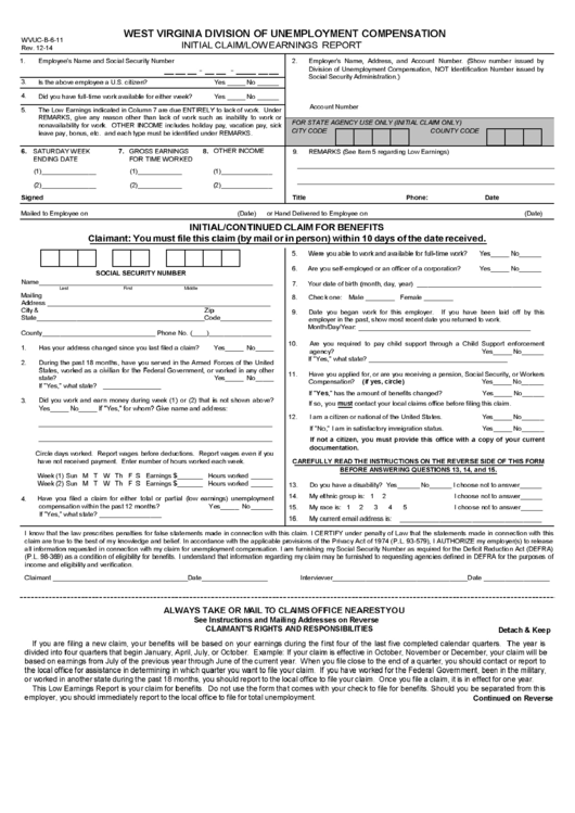form wvuc-b-6-11 - initial claim  lowearnings report