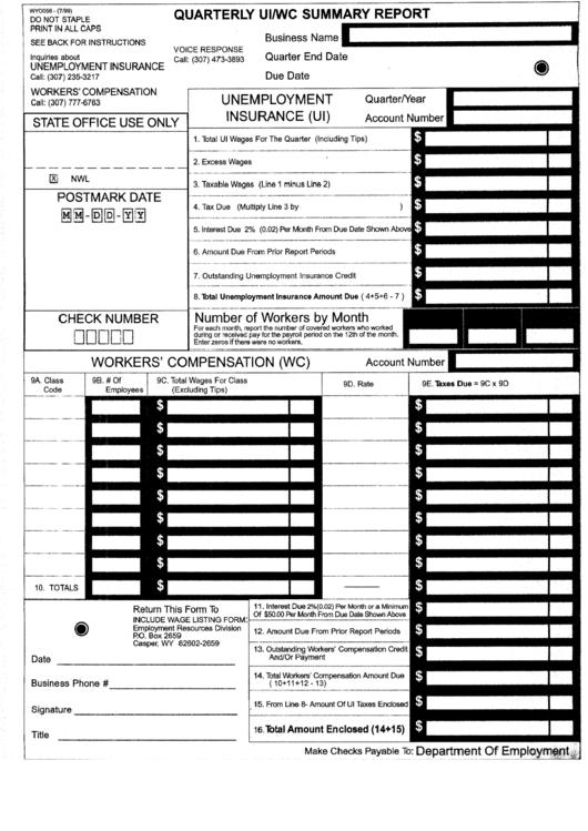 Form Wyo056 Quarterly Ui Wc Summary Report 1999