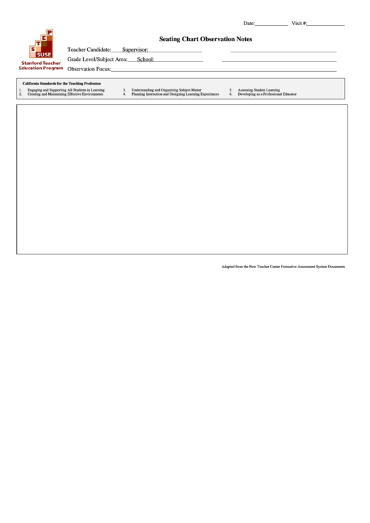 Seating Chart Template - Seating Chart Observation Notes