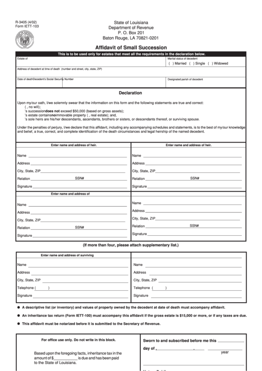 Fillable Form R 3405 Affidavit Of Small Succession 2002