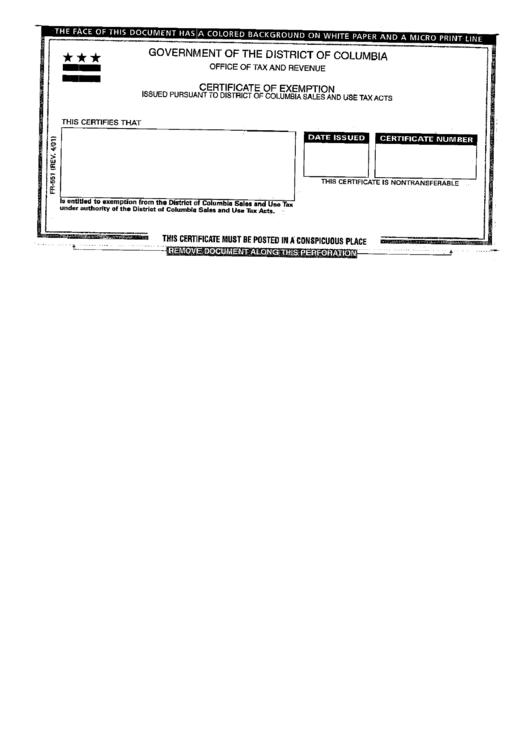 Pr Sales Tax Exemption Certificate