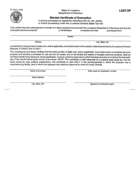 Form Lgst-dp - Blanket Certificate Of Exemption Form printable pdf ...