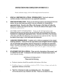 Instructions For Completion Of Form