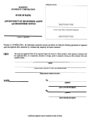 Form For Appointment Of Registered Agent And Registered Office