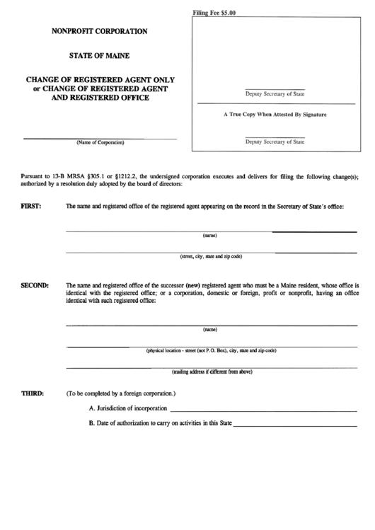 Form Mnpca-3 - Change Of Registered Agent Onl Y Or Change Of Registered Agent And Registered Office Printable pdf