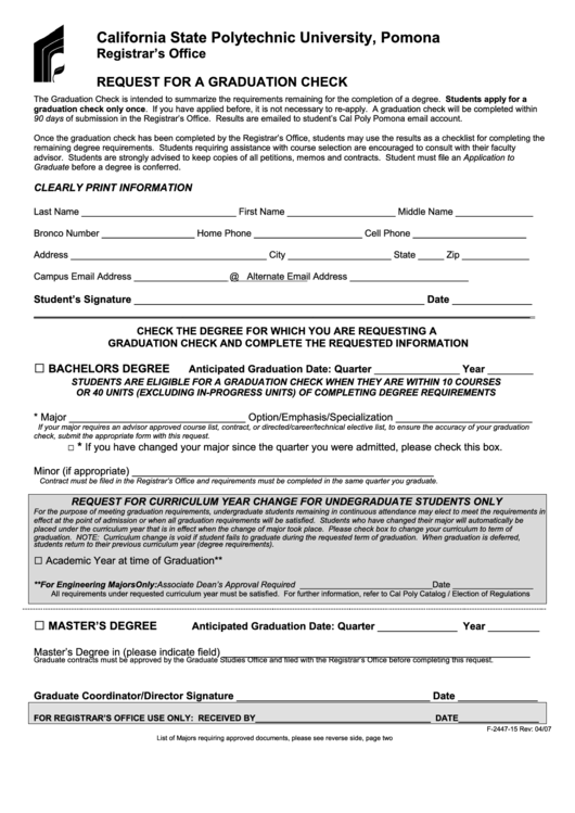 Form 2447-15 - Request Form For A Graduation Check