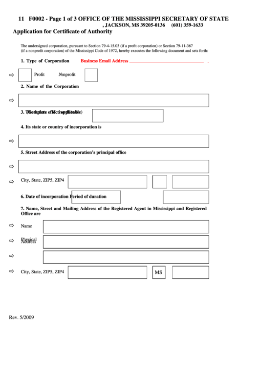 Fillable Form F0002 - Application For Certificate Of Authority Form - State Of Mississippi Printable pdf