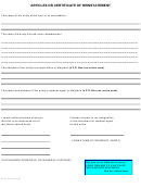 Articles Or Certificate Of Reinstatement Form - 2002