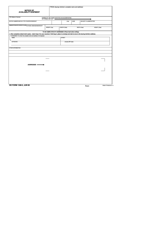 Dd Form 1348-5 - Notice Of Availability/shipment - 1969