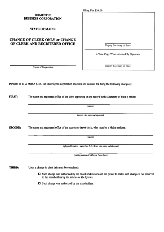 Form Mbca-3 - Change Of Clerk Only Or Change Of Clerk And Registered Office - Maine Secretary Of State Printable pdf