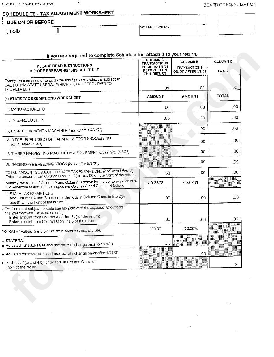 Form Boe-531-Te - Tax Adjustment Worksheet Template printable pdf