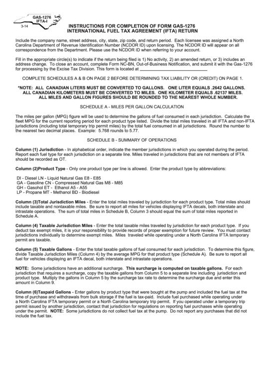 Form Gas 1276 International Fuel Tax Agreement Ifta