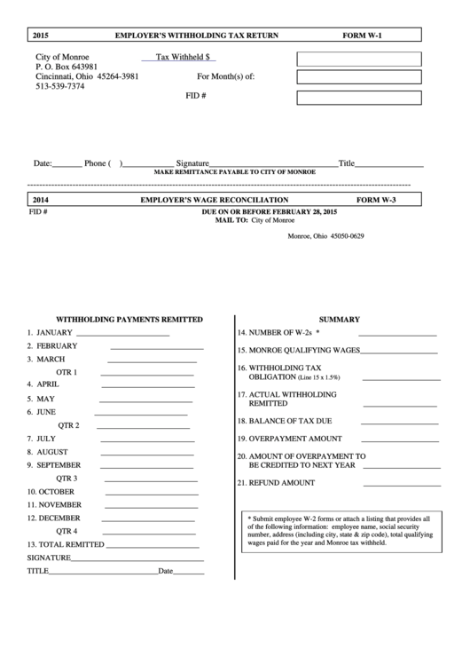 Form W-1 - Withholding Payments Remitted - 2015/form W-3 ...