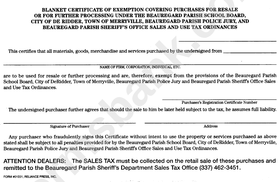 Form 01e01 Blanket Certificate Foe Exemption Covering Purchases