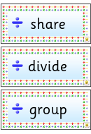 Division Vocabulary Flash Cards Template