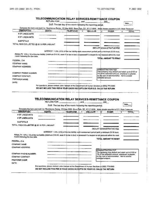 Telecommunication Relay Services-Remittance Coupon Form Printable pdf