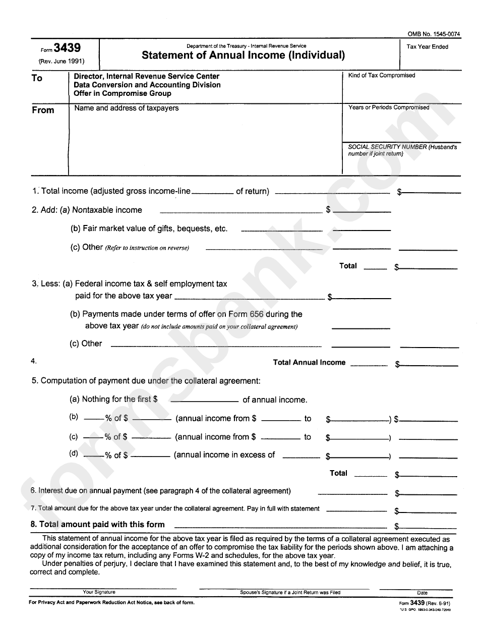 Form 3439 - Statement Of Annual Income (Individual) - Department Of The Treasury