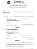 Quarterly Public Utility License Fee Form - City Of Boulder City