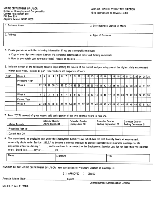 Form Fx-2 - Application Form For Voluntary Election