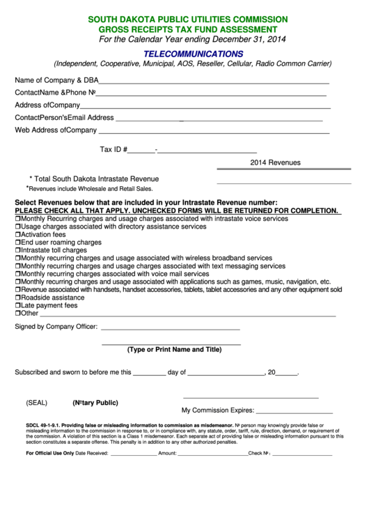 Fillable Gross Receipts Tax Fund Assessment Form - 2014 Printable pdf