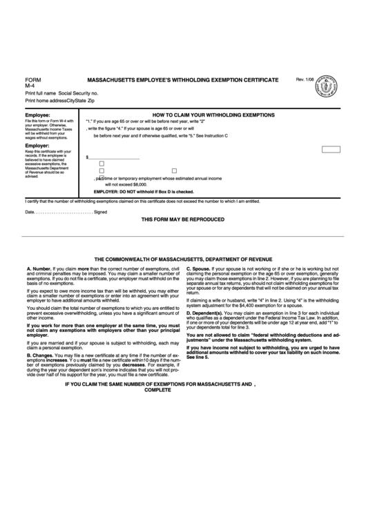form m-4 - massachusetts employee u0026 39 s withholding exemption certificate