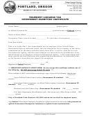 Transient Lodging Tax Government Exemption Certificate Form - City Of Portland - Oregon