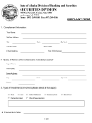 Complaint Form - State Of Alaska Division Of Banking And Securities