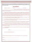 Living Will Declaration Form - 2005