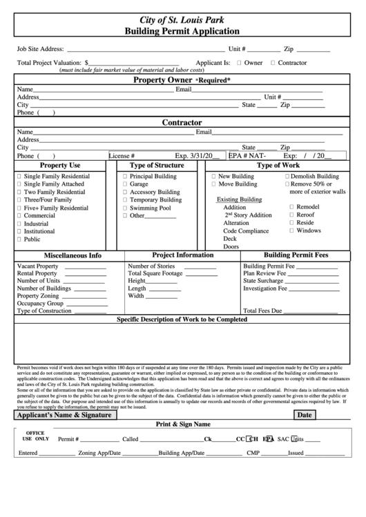 Fillable Building Permit Application City Of St Louis