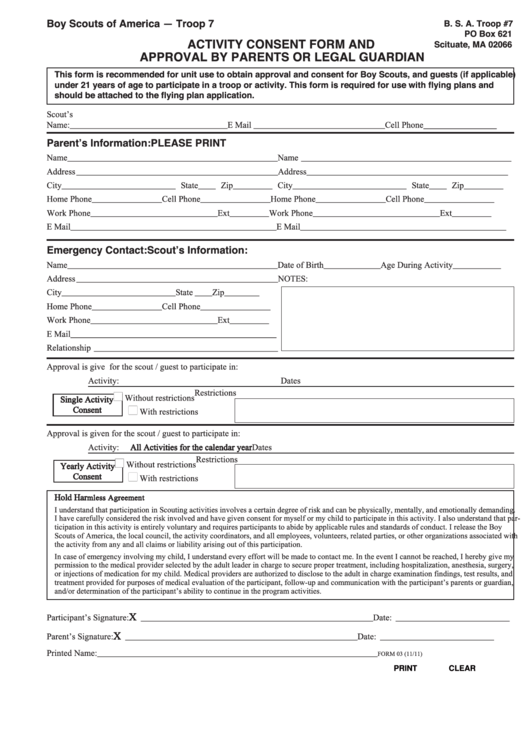 Bsa Activity Consent Form And Approval By Parents Or Legal ...