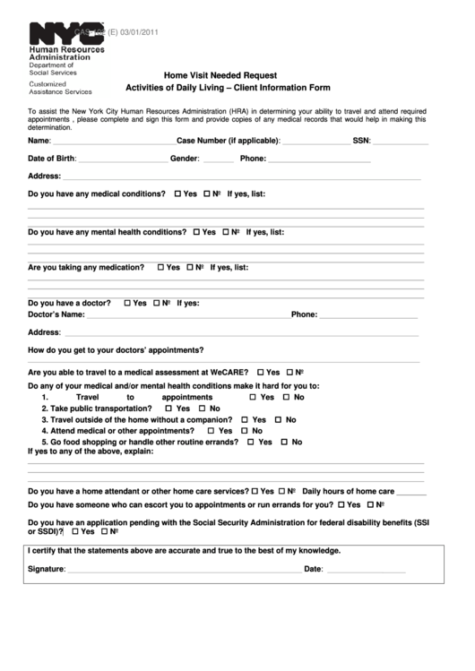 Home Visit Needed Request Activities Of Daily Living - Client Information Form