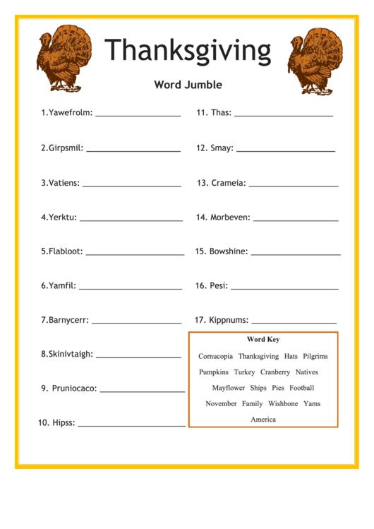 Thanksgiving Word Jumble Template Printable pdf