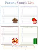 Parent Snack List