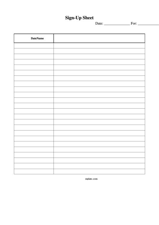 Sign-Up Sheet Printable pdf