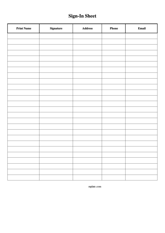 Sign-In Sheet Template Printable pdf
