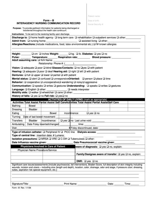 Interagency Nursing Communication Record Form Printable
