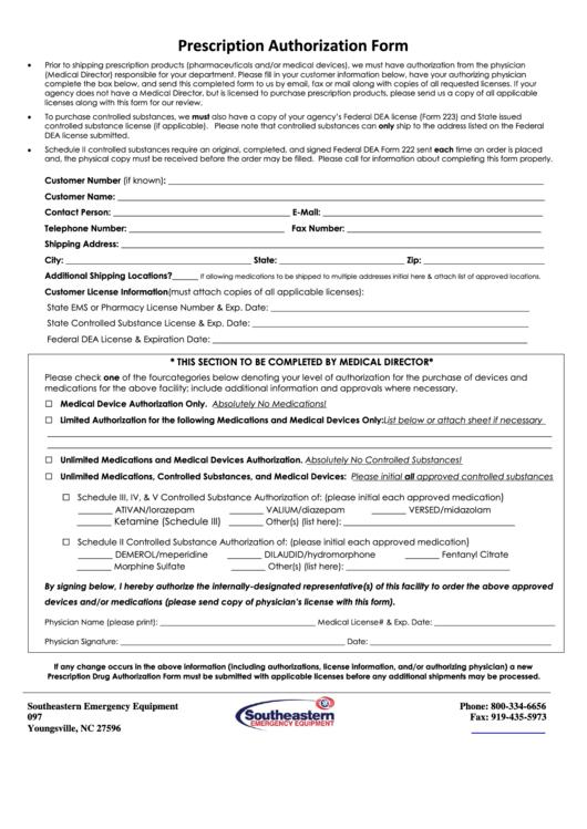 Prescription Authorization Form Printable pdf