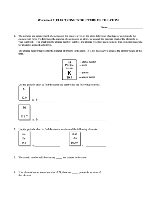 Electronic Structure Of The Atom Worksheet Printable Pdf Download