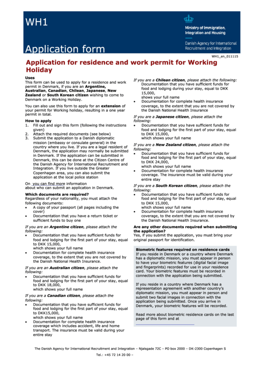 Form Wh1 - Application For Residence And Work Permit For Working ...
