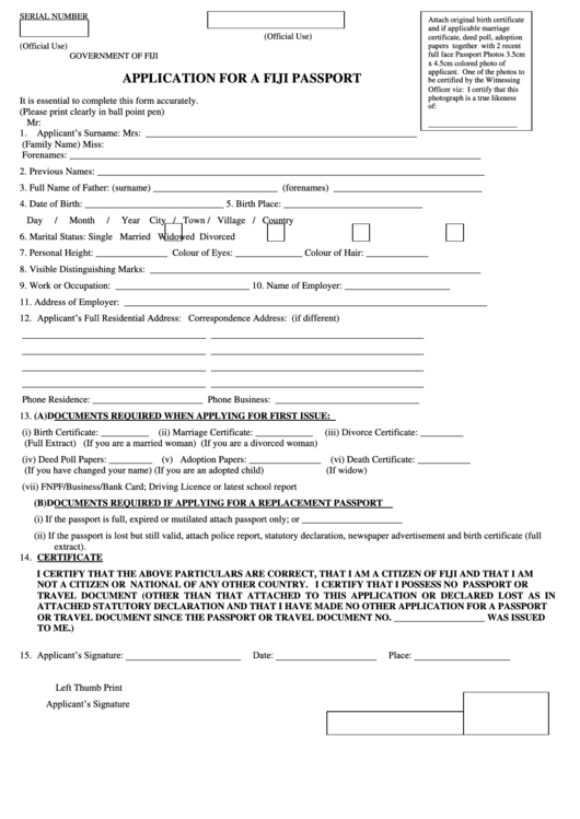 Application for passport