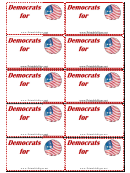 Democrats Support Sign Palm Cards Template