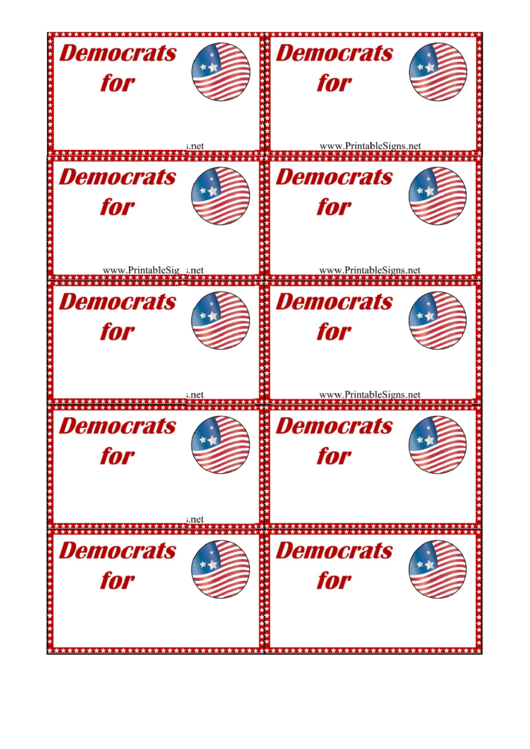Democrats support sign palm cards template printable pdf for Palm card template word
