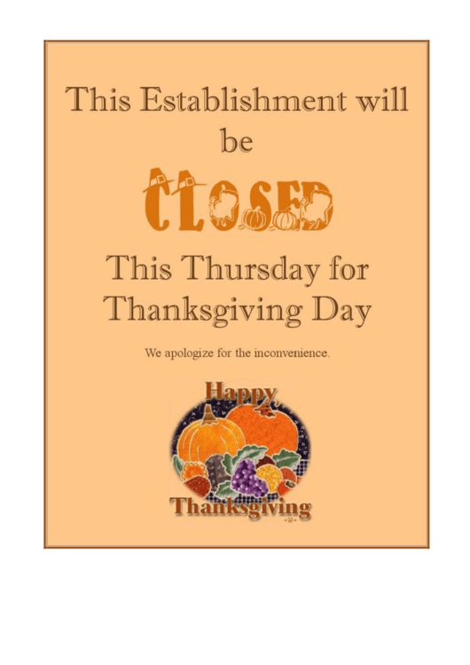 picture relating to Thanksgiving Closed Sign Printable named thanksgiving shut signal template -