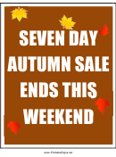 7 Day Autumn Sale Ends This Weekend Sign