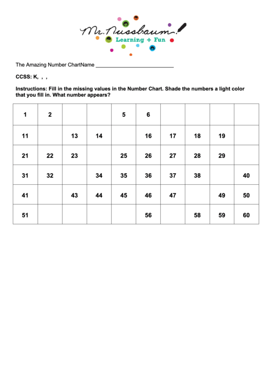 The Amazing Number Chart Printable pdf