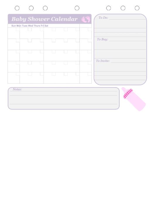 Baby Shower Calendar Template