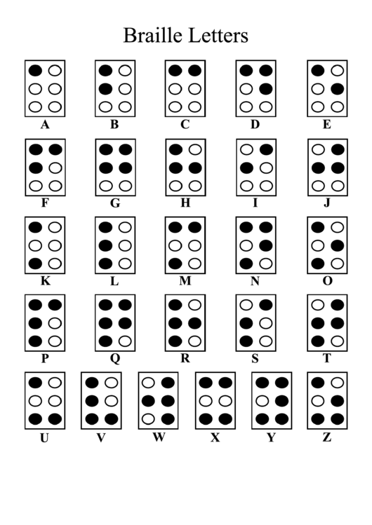 Braille Alphabet Chart Printable pdf