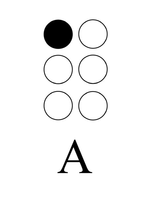 Braille Alphabet Chart - Letter A